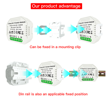 Преносим 2 Gang 2 Way Wifi Smart Light Switch Breaker Module Sasha APP Remote Control Алекса Voice, Smart Home Automation Switch