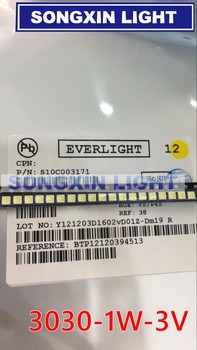 1000pcs EVERLIGHT LED Backlight 1W 3030 3V студено бяло 80-90LM TV Application 62-113TUN2C/S5000-00F / TR8-T с zener