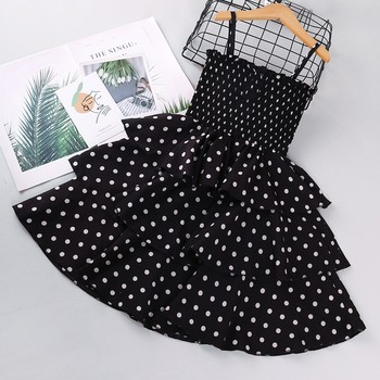 2/8Y child baby girl summer dress Polka Dot Printing Suspender Sleeveless Princess Dresses deguisement princesse fille t5