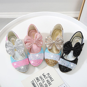 2020 Girls Sequins Princess Shoes Spring Children Wedding Party Kids Dress Shoes For Girls School High Heels Кожени Обувки D185