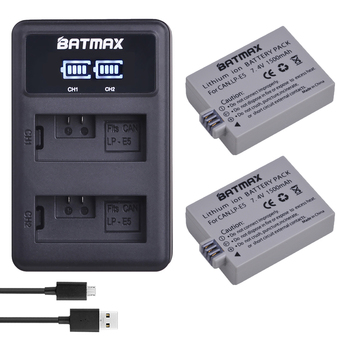 2pcs 1500mAh LPE5 LP-E5 LP E5 Battery + LED USB Dual Charger за Canon EOS Rebel XS, Rebel T1i, Rebel XSi, 1000D, 500D, 450D, Ki