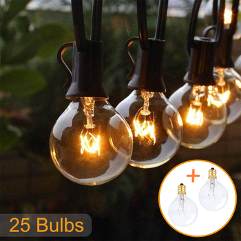 50ФУТ 25FT Patio string light фея light G40 Globe Festoon bulb outdoor/indoor light for party garden garland wedding Decoration