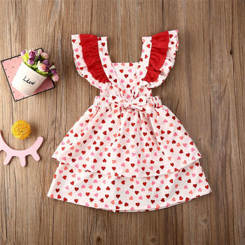 6M-5Y Toddler Baby Kid Girls Dress Red Heart Ruffles свети валентин Day Party Dress For Girls летни детски костюми