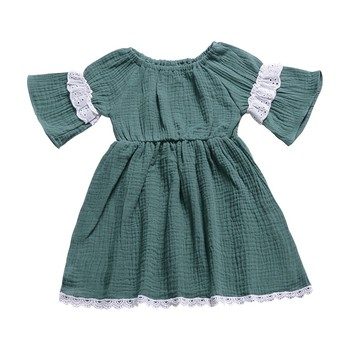 Baby Girls Dress Summer Casual Baby Girls Flare Sleeve Дантела Design Dress Хлопчатобумажный Детски Сарафан А26