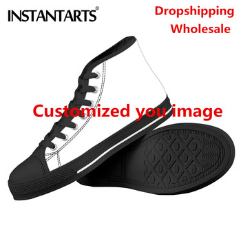INSTANTARTS Custom Logo Image/Name/Animal Personalize Men Vulcanized Flats Sneakers High Top Male Canvas Shoes zapatos de hombre