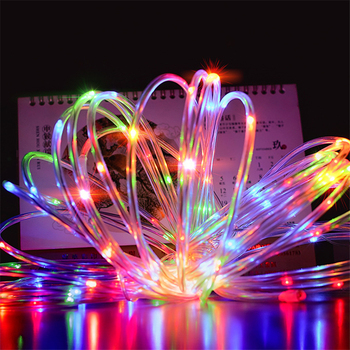 Led Flexible Soft Tube Тел Neon Glow Въжето Strip Light 110V/220V 8 режима Low Voltage Waterproof Въжето Светлини Garden Decor Коледа