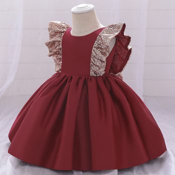 LZH 2021 Baby Girls Dress Princess Dress Sleeveless Bow Christmas Dress Fashion Wedding Flower Girl Dress Sweet Newborn Clothe