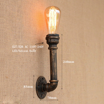 Steam punk Loft Industrial желязо rust Water pipe retro wall lamp Vintage e27 sconce светлини for living room, bedroom bar restaurant