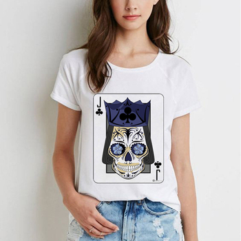 Unisex Summer Пънк T-shirt Graphic Women Tee Short Sleeve Cool Skull Print Върховете Camisas Mujer Vintage Casual Female Top Tee