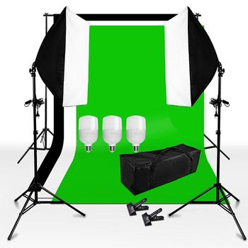ZUOCHEN Photo Studio White Black Gray Green Screen background Light Stand Softbox Lighting Kit With 3PCS 25W LED Bulb